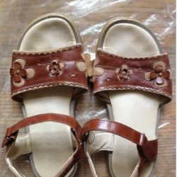 brown sandals with flowers