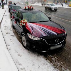 Аренда красного украшения на свадьбу для машины