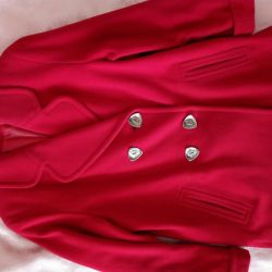 Σύντομο γυναικείο μισό μάλλινο κόκκινο παλτό