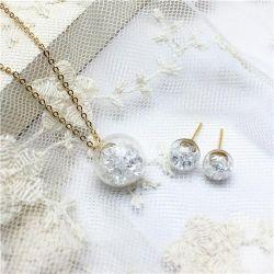 Ear-studs, pendant, glass
