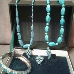 Silver set with turquoise
