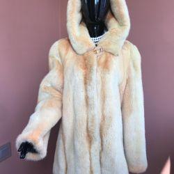 Mink coat with hood 46/50