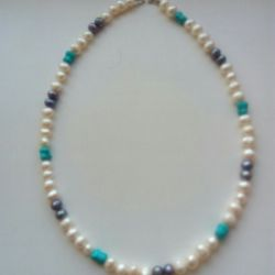 Pearls beads + turquoise 45 cm
