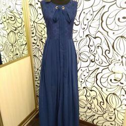 Платье синее с бантиком