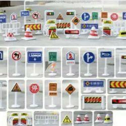 Set of children's road signs