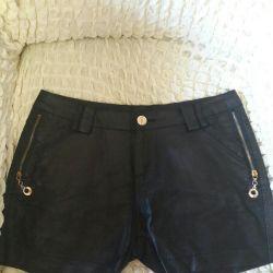 Women's eco-leather shorts
