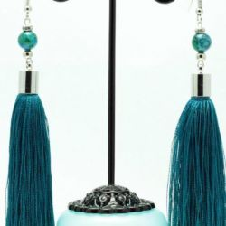 Brush earrings with chrysocolla