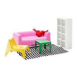 Doll furniture, living room, bedroom. Sweden.