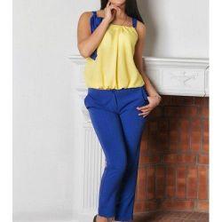 Kostüm yeni pantolon + bluz (sarı-mavi)
