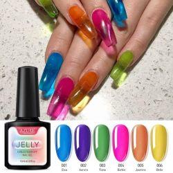Translucent gel polishes.