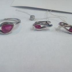 Earrings, silver ring 925pr