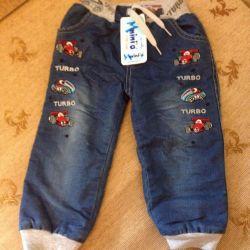 Новые теплые джинс. штаны