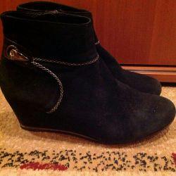 Батинки Чeрные замшевые размер 37  цена 150р
