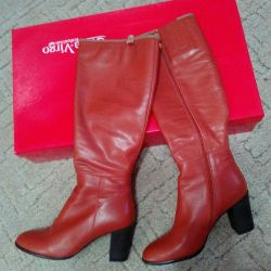 New leather terracotta boots