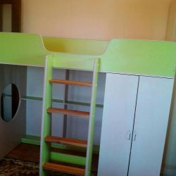 Bed - attic, nursery with orthopedic mattress