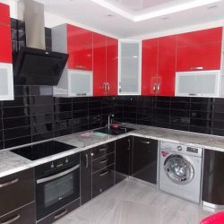 Kitchen with Glossy Facade