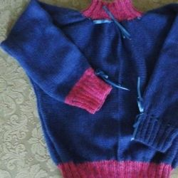 Sweater warm hand-knitted 12years 100% wool