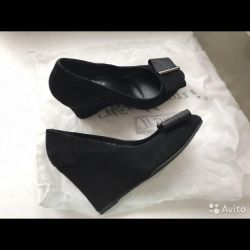 Natural Suede Wedge Shoes