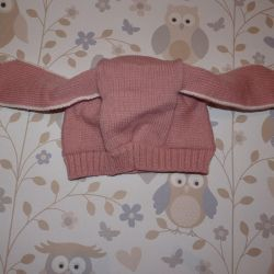 Hat pink hare ears knitted New