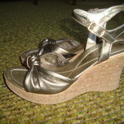 Gold sandals wedge Leather natures. Germany