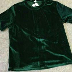 Top blouse t-shirt velvet female velvet