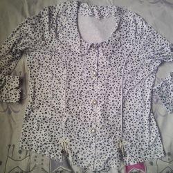 Bezelye Beyaz Bluz 54cm