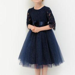 Kabarık etek r.116 ile elbise, koyu mavi