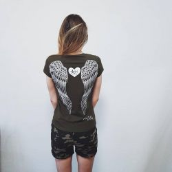 new t-shirt angel wings khaki white women