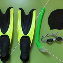 Children's flippers, tube, glasses
