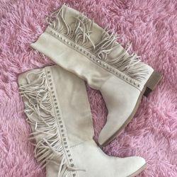 Boots din piele naturala Zara