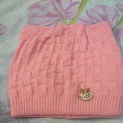 Новая розовая шапка кошка на 4-6 лет