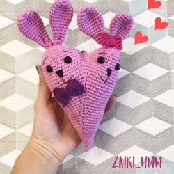 Bunny love heart handmade