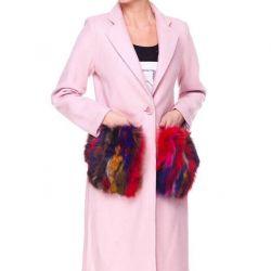 Παλτό με τσέπες γούνας. Μεγέθη: S / M / L / XL