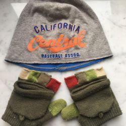 Детская шапка и перчатки митенки