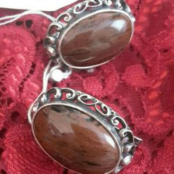 Cercei din argint din Obsidian natural.