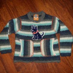 Çocuk üzerinde kazak, sıcak, kullanılmış, yükseklik 92-98