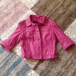 Leather jacket, three-quarter sleeve