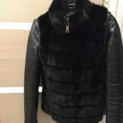 Leather jacket with mink