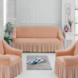 Καλύπτει στον καναπέ και δύο καρέκλες Σύγχρονη ροδάκινο