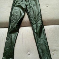 Leggings leather, knitwear