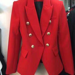 Ceket Balmain kırmızı Süit