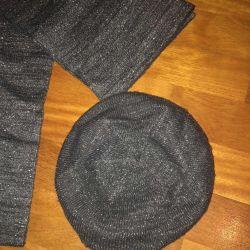 Hat (beret) + scarf + gloves