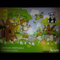 Wooden puzzle Zoo Hape 24 elements