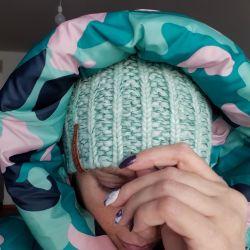 Hat warm winter knitted mint