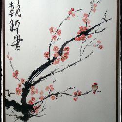 Η Sakura ανθίζει. Ιαπωνικό στυλ, τεχνική Sumi-e