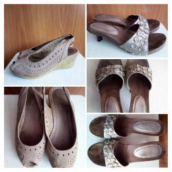 Sandals, leather, second-hand, 37р-р