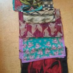 Scarves and one scarf, chiffon, silk.