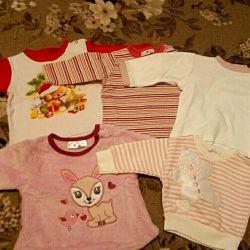 3-5 ay kız çocuğu için bluzlar
