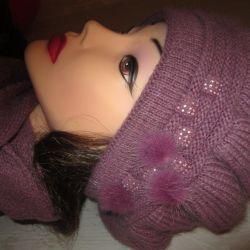 Комплект новый шапка+шарф