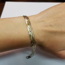 Браслет плетеный позолоченный. Серебро 925 проба